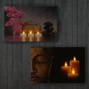 TABLEAU - TOILE Toile de décoration murale x2 LED tableau illuminé