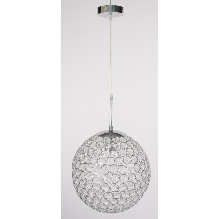 Lustre boule chromée et verre cristal ø 30 cm