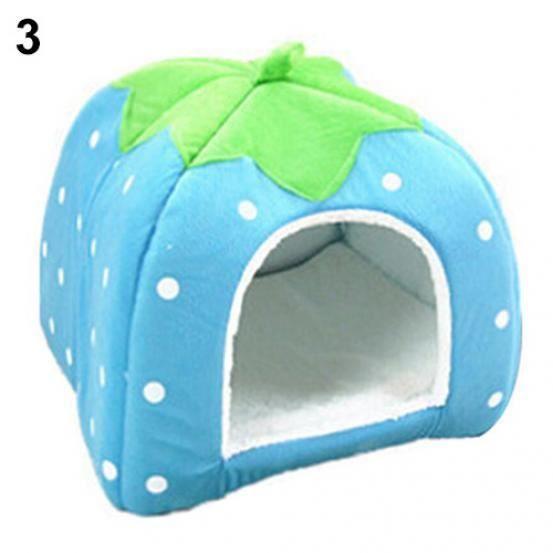 Strawberry Pet Dog Chat Puppy Warm Tapis De Lit Coussin Soft House Kennel Basket Bleu L