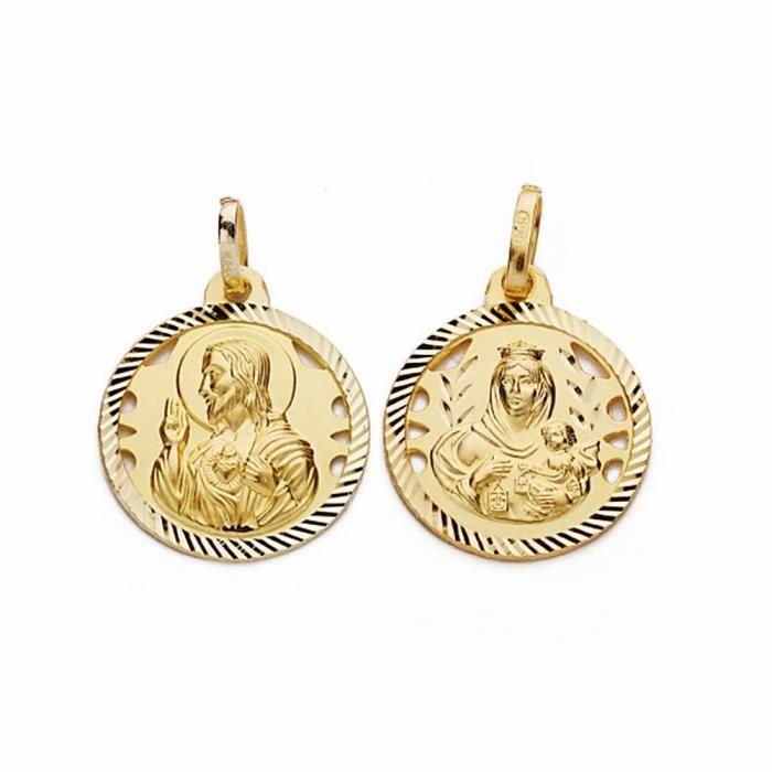 Médaille pendentif 16 mm en or 18 carats Scapulaire Vierge Carmen Coeur de Jésus [AA2473] aNF7sMOt