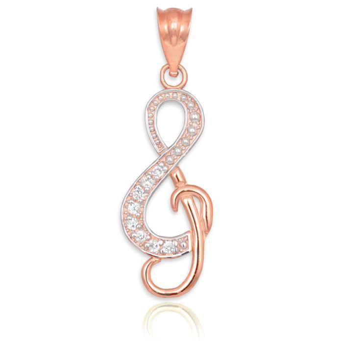 Collier Pendentif14 ct 585/1000 sertie de Diamants Rose Ou Treble Clef Musique