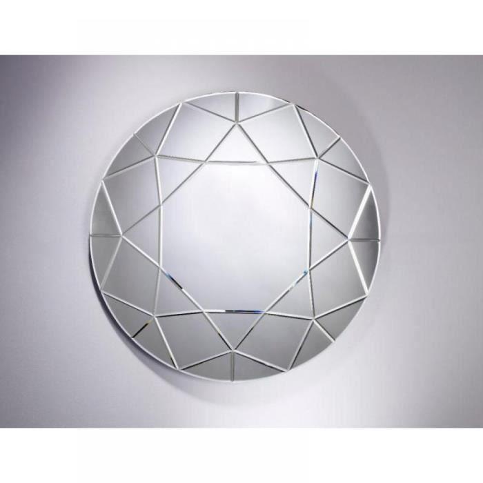 opale miroir mural design rond en verre biseaut achat vente miroir bois mdf carton verre. Black Bedroom Furniture Sets. Home Design Ideas