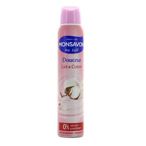 monsavon d odorant femme spray anti transpirant lait coton 200ml lot de 3 achat vente. Black Bedroom Furniture Sets. Home Design Ideas