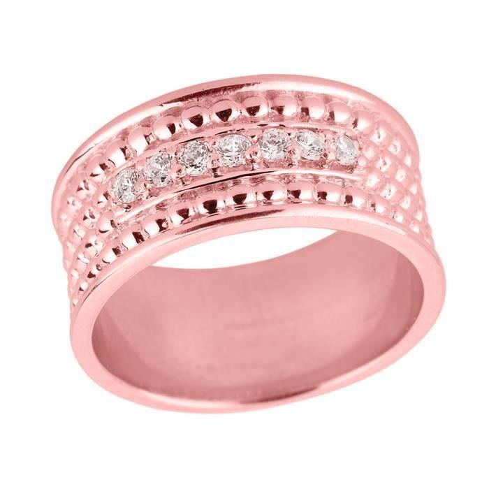 Bague Femme Alliance 10 ct Or rose 471/1000 Boule Diamant