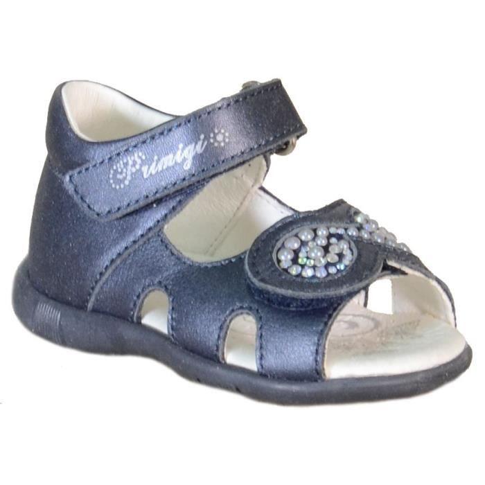 Primigi Sandales pour Fille Bleu Cuir Velcro 80310