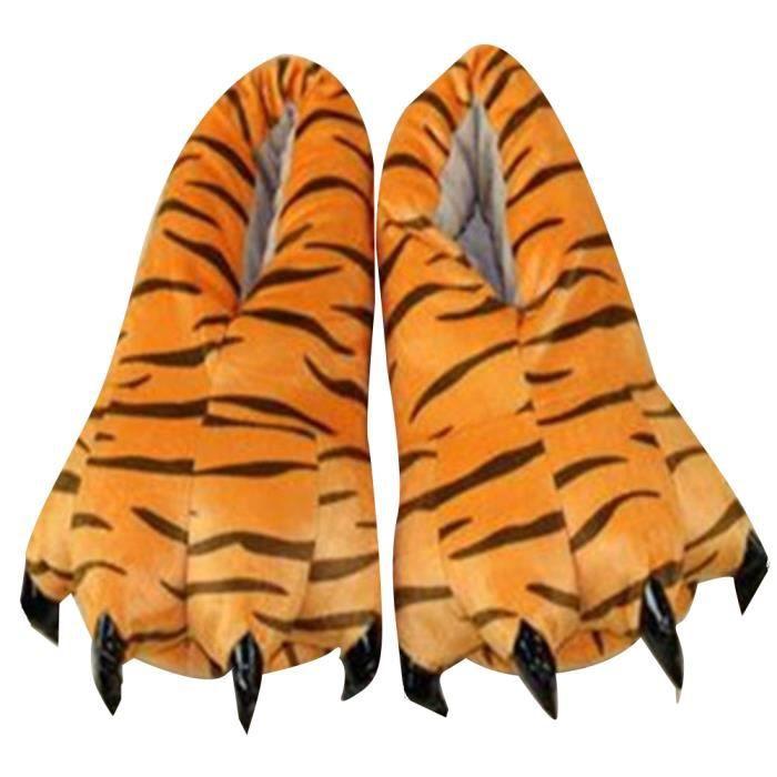 chaussons griffe chausson peluche Confortable hiver chaud doux pantoufles chaussons pattes animaux Plus Taille 28-45