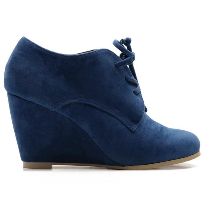 Shoe Faux Suede Wedge Heel Fashion Ankle Lace Up Boot T95dg Taille-38 1-2