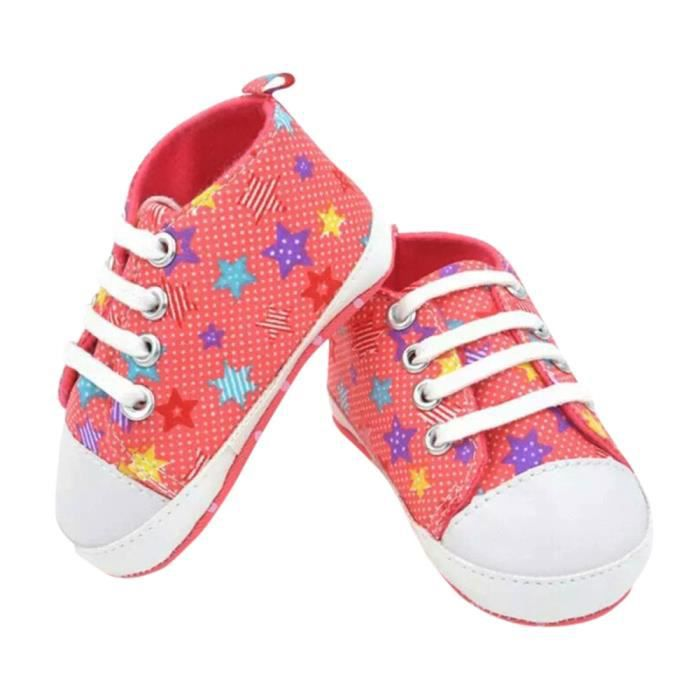 BOTTE Toddler Bébé Chaussures Star Print Sneaker Anti-dérapant Semelle Souple Toddler Toile Chaussures@Rose rougeHM