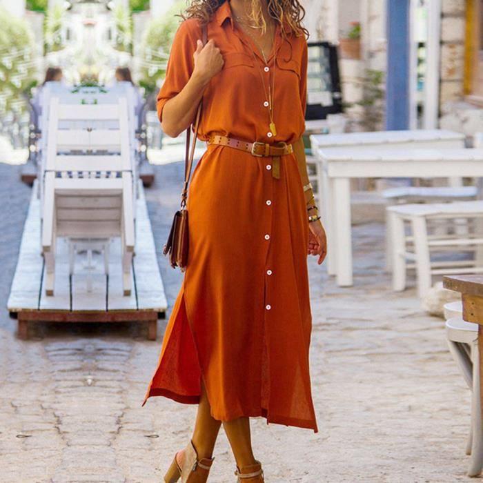 c8a9cebed8e4 Bouton femme Casual longue Robe chemise à manches longues Parti robe de  soirée Orange