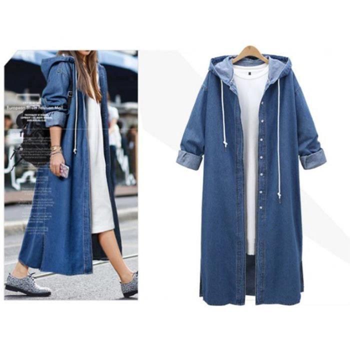 Veste Femmes capuche Casual manches longues Veste en jean long manteau Jean Outwear Pardessus @Bleu