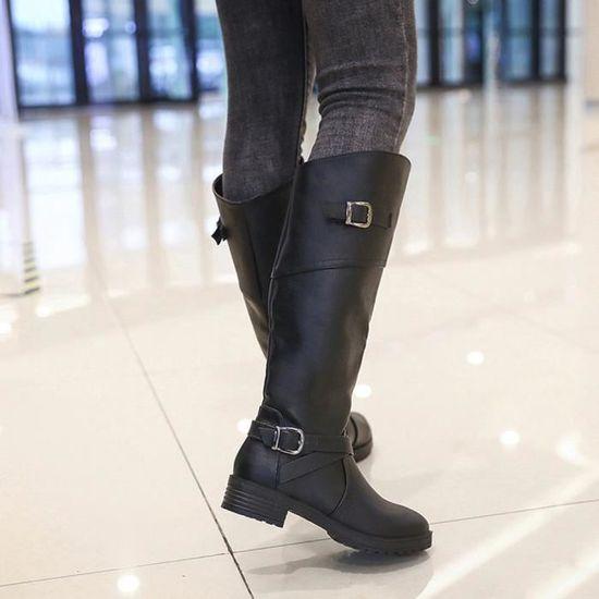 Boucle Femmes Faux Les Plat Chevalier Pour Bottes Chaussures En Cuir Martin Dames ZIZqxdF