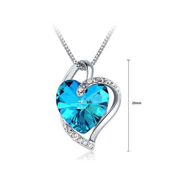 Glamorousky Pendentif coeur Saint-Valentin avec cristal et collier autrichien bleu (24543)