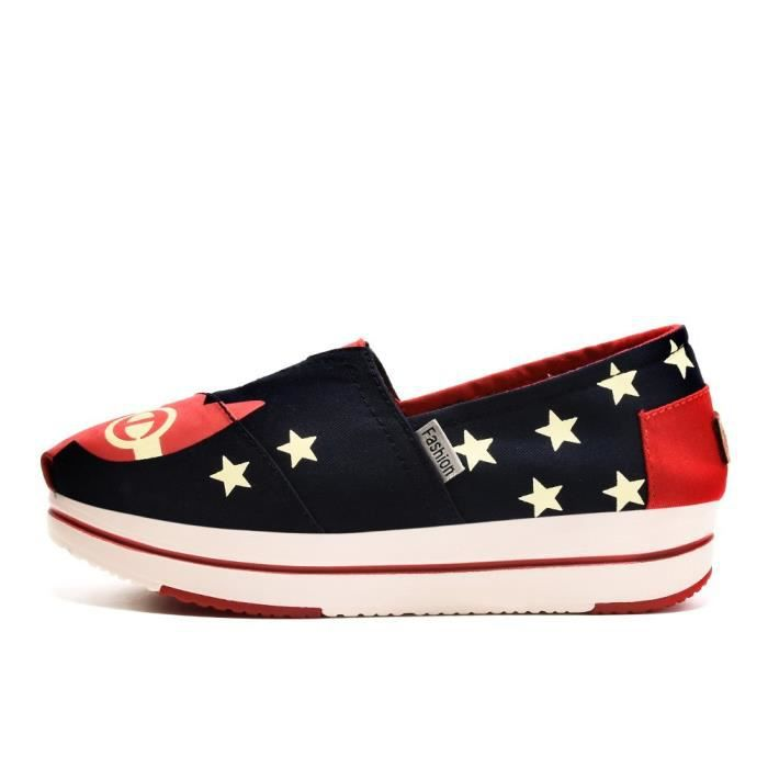 Taille Stars Platform Elastic Women's Sneaker K1tsg 37 Fashion Slip With Shoes on XwOq1vWO8