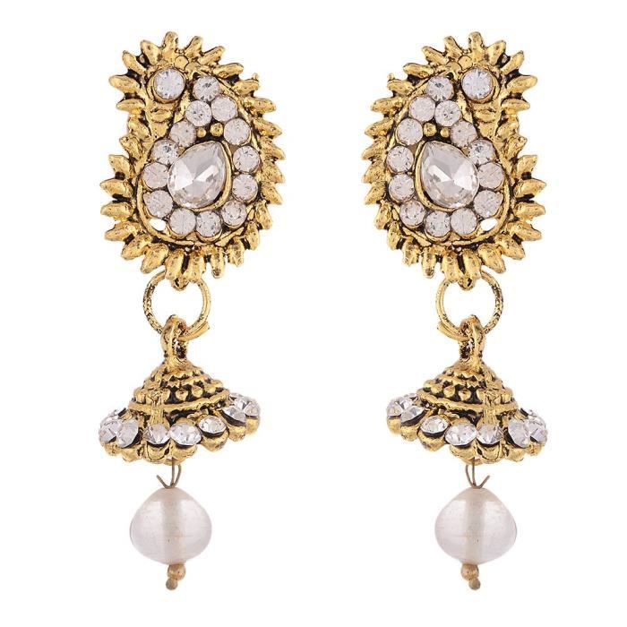Womens White Pearl Gold Plated Necklace With Earrings For -F5VHW