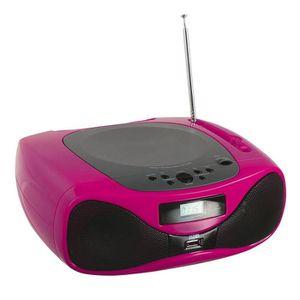 CLIPSONIC TES179P Lecteur radio CD Bluetooth - Rose