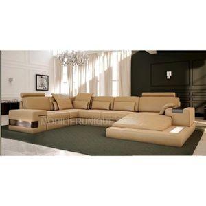 Canapé d'angle panoramique design en cuir italien - Achat ...