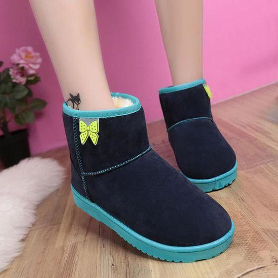 Les femmes Bottines fourrure Bordée Automne Hiver chaud Bottes de neige Chaussures qinhig277  Bleu foncé - Achat / Vente botte