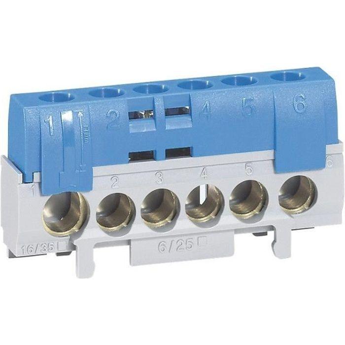 LEGRAND Bornier de neutre 5 bornes pour câble 6 à 25mm² + 1 pour câble 10 à 35 mm² bleu