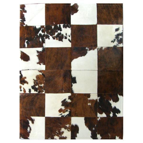 tapis patchwork en peau de vache normande - Tapis Peau