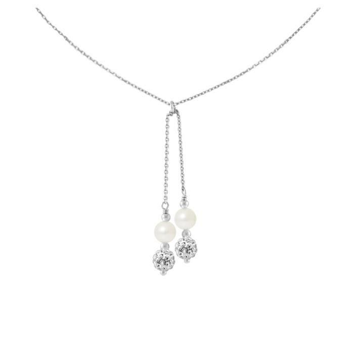 Collier Femme en Argent Massif 925-1000 et 2 Perles de Culture deau douce Blanches et Cristal Blanc - Blue Pearls
