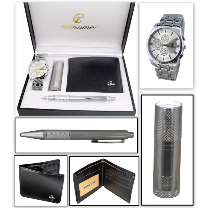 4dbecde3c1d07 coffret cadeau montre Homme avec lampe torche led , portefeuilles et stylo