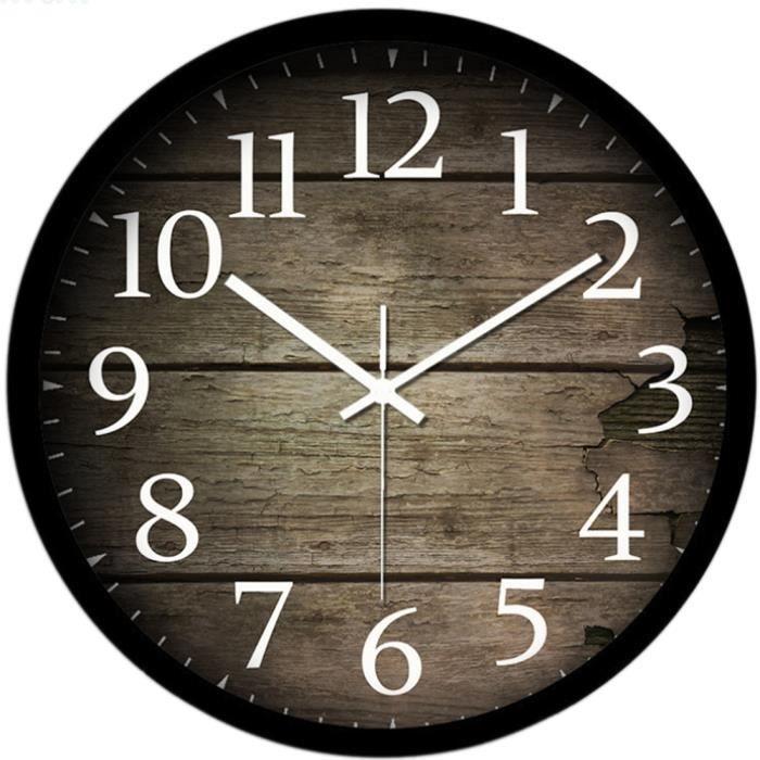 Horloge murale en metal et bois achat vente horloge for Grande horloge murale pas cher