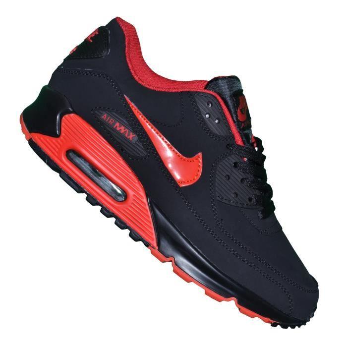 nike - basket - homme - air max 90 essential 74 - noir rouge