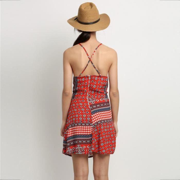 Robe femme rouge Finejo robe femme en coton mélange robe femme sans manches