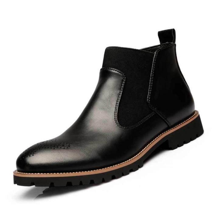 Martin Bottes Plus de Cachemire Chaussures Hommes en Cuir Printemps et Automne