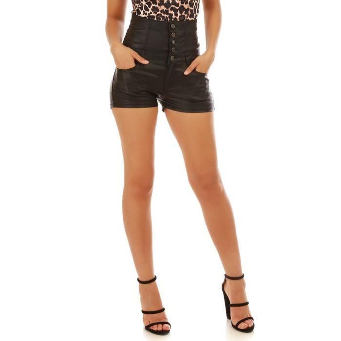 XS taille jean en Short enduit noir Achat Noir haute Vente Noir wp6qqTxY