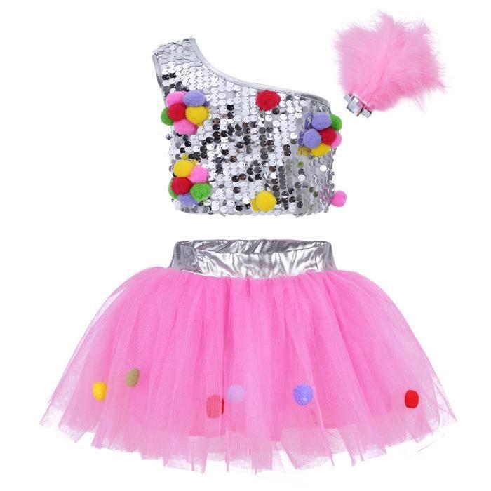 a6af1d1ca3512 Fille Ensemble Vêtement de Danse Jazz Tenues Robe Ballet Danse 3 piece  Enfant Jupe + Gilet + Pince à Cheveux Fille Tutu Costumes