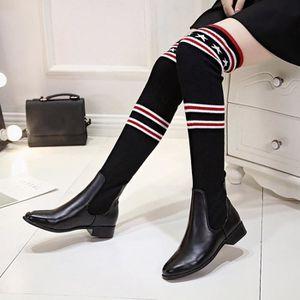 deuxsuns®Mode Femmes Stretch Slim Bottes Sur Les Bottes Au Genou Talon Plat Bottes Chaussures vEE91GSd