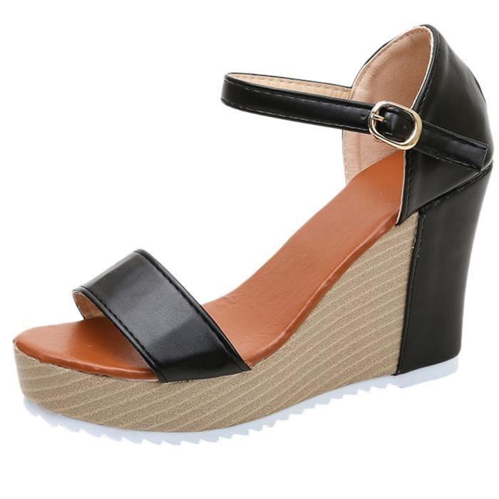 Chaussures Sangle Noir Boucle Toe Forme Femmes Haut Sandales Plate dxBCoeWr