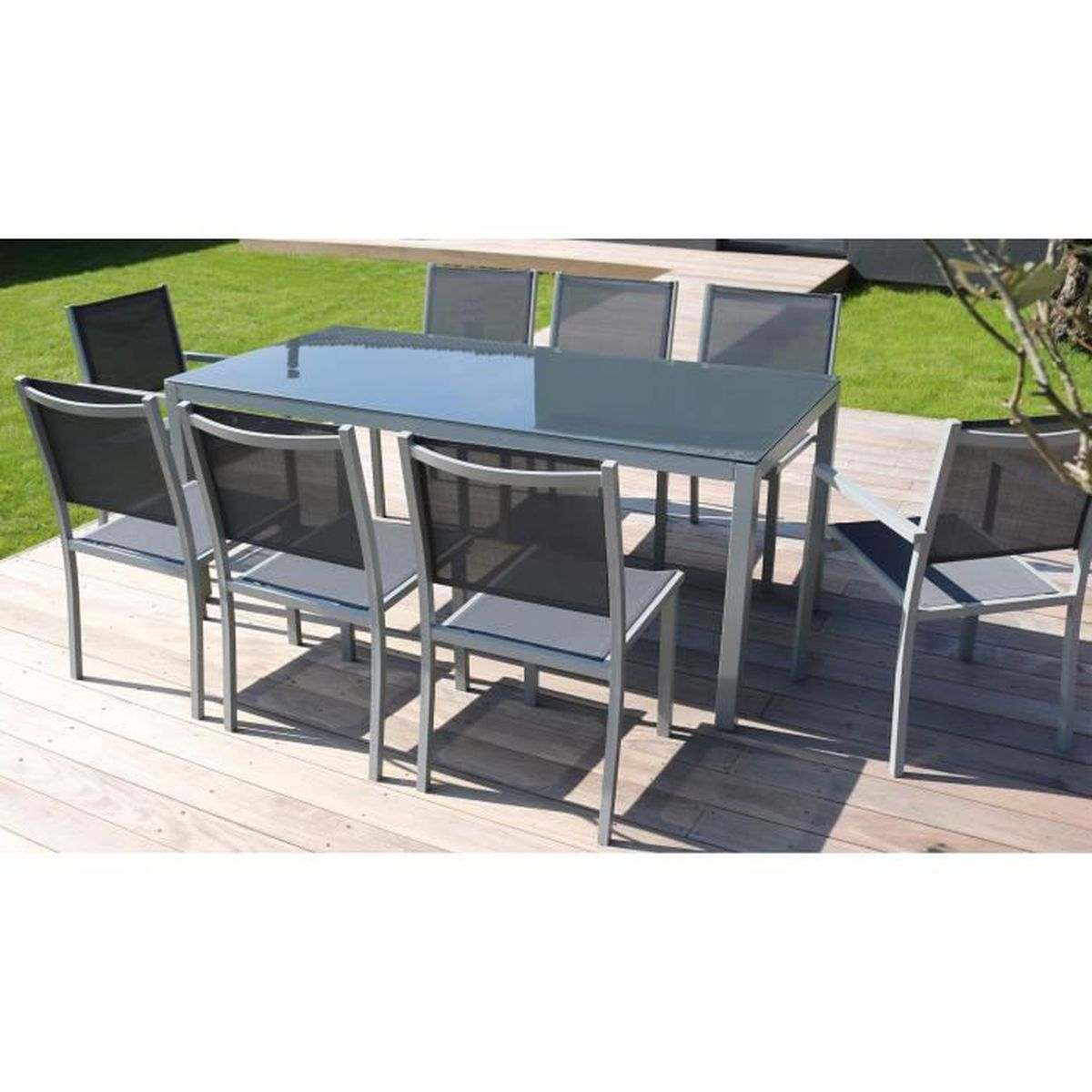 Table jardin alu verre achat vente pas cher for Achat table jardin