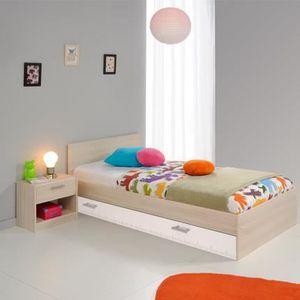 LIT COMPLET Ensemble lit 90x190cm + tiroir + chevet coloris ac