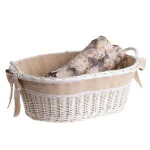 PANIER PORTE BUCHES Panier et porte-bûches, corbeille en osier blanc a