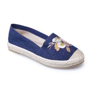 ESPADRILLE Espadrilles bleu foncé en jean avec broderie flora