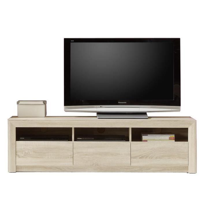 Panneaux de particules mélaminés décor chêne structuré mat - L 164 x P 48 x H 46 cm - 3 tiroirs et 3 nichesMEUBLE TV - MEUBLE HI-FI