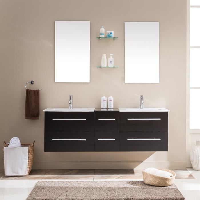 Lezio WENGE: ENSEMBLE SALLE DE BAIN meuble + 2 vasques + 2 miroirs ...