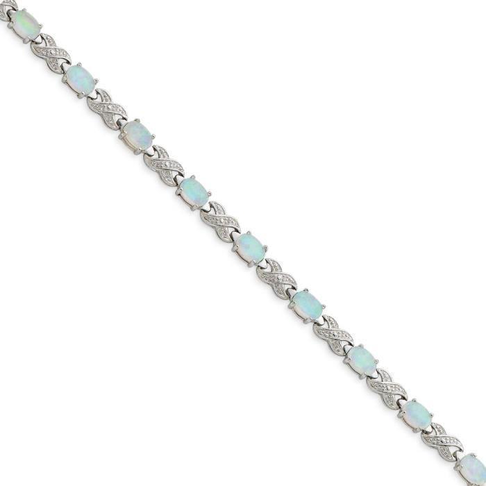 Argent Sterling a créé Opal et rugueuses et Bracelet-Diamant - 7 mm-Fermoir