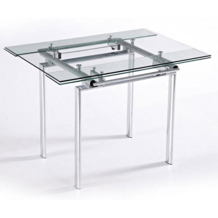 Table Haute de Cuisine Carrée Plateau Verre 135 cm - Achat / Vente ...