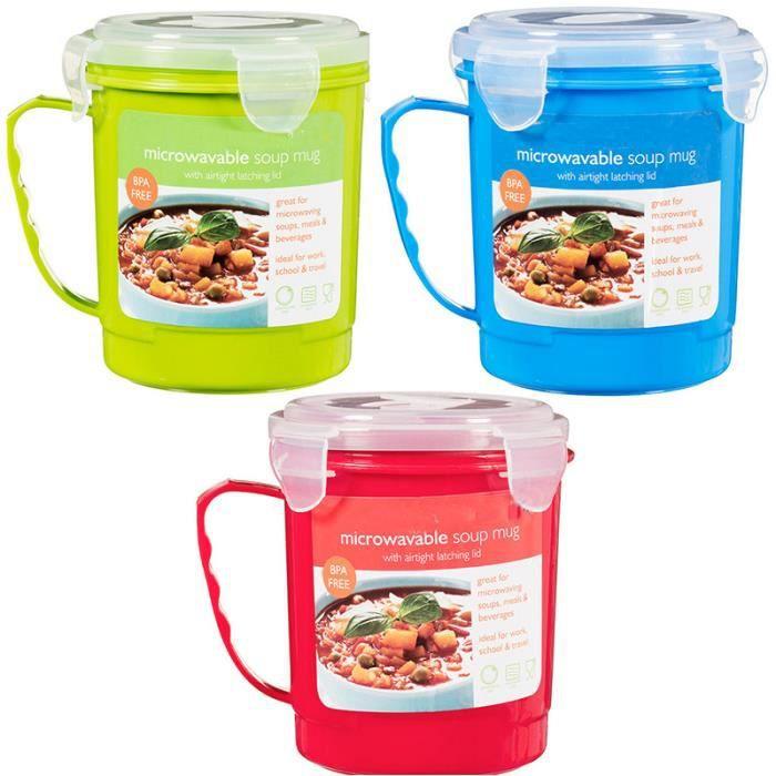 3 bols mugs soupe pour micro ondes 600 ml poign e pratique achat vente lunch box. Black Bedroom Furniture Sets. Home Design Ideas