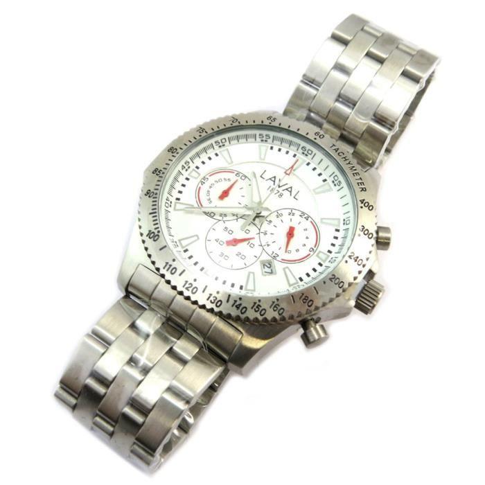 BRACELET DE MONTRE Montre chronographe étanche 'Michel' blanc argenté
