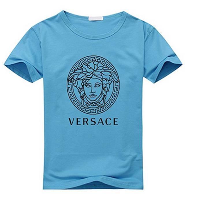 0389cb59e768 Versace T-shirt manches courtes en coton à manches longues (bleu clair)