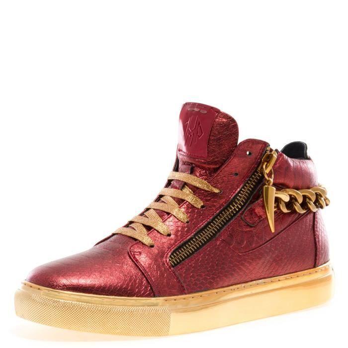 j75 par la chaîne de zack des hommes bout arrondi glissière arrière en cuir à lacets haut-haut sneaker NWFZJ 47 GaZIDa