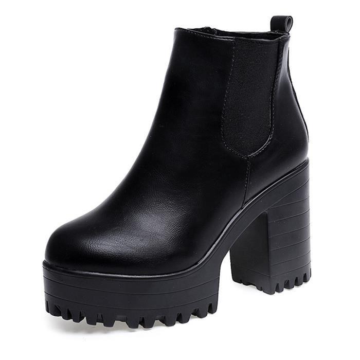 228fd9c7265 Spentoper Femmes Bottes talon carré Plate-formes en cuir Cuissardes Pump  Bottes Chaussures  Noir