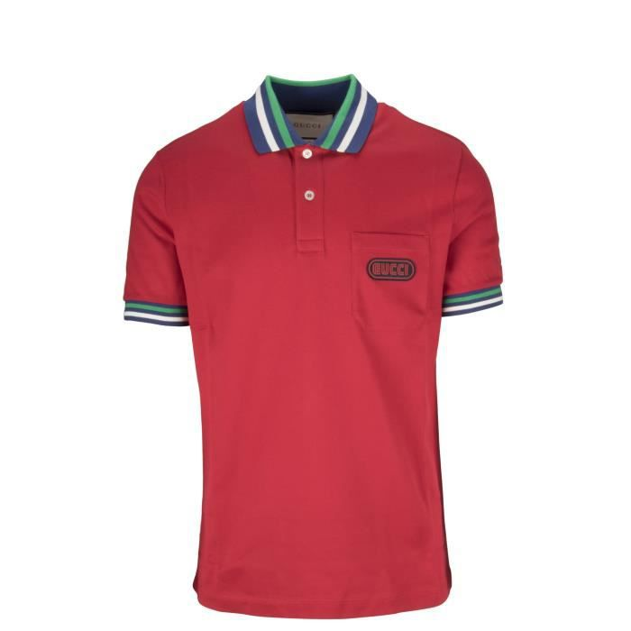 GUCCI HOMME 527727X9X766527 ROUGE COTON POLO Rouge Rouge - Achat ... 77b965c1ed0