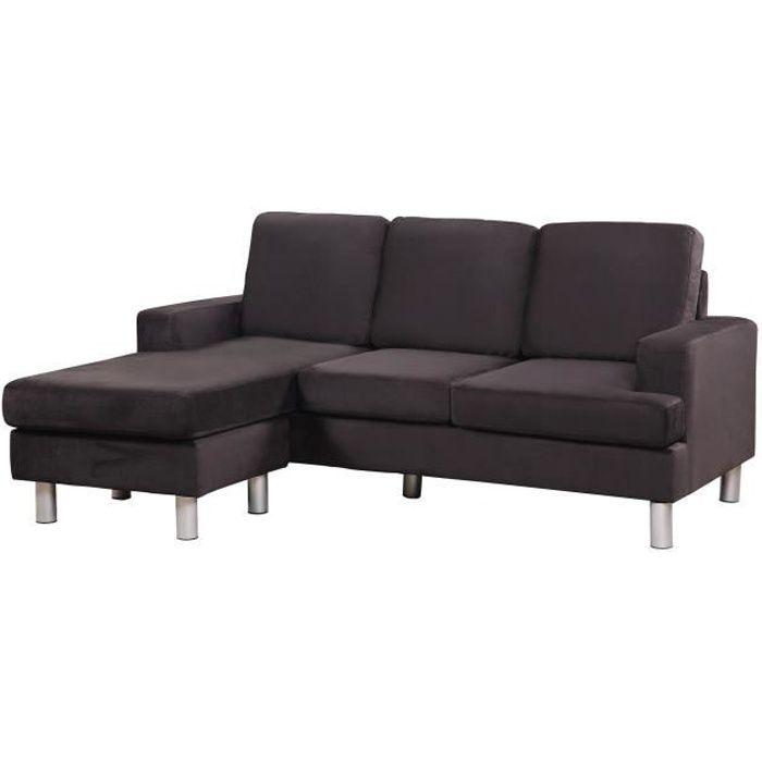 canap sofa divan florence canap angle rversible microfibre noir - Canape Angle Microfibre