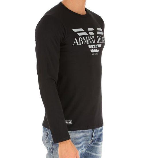 b81f26c52b30 Tee Shirt ARMANI JEANS pour Homme Manches Longues B6H45 Noir Noir NOIR -  Achat   Vente t-shirt - Soldes  dès le 9 janvier ! Cdiscount