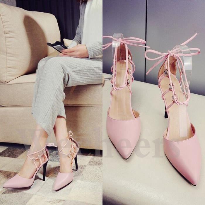 chaussures à talons hauts pointu cuir talon fin hauteur élevé style adorable escarpin